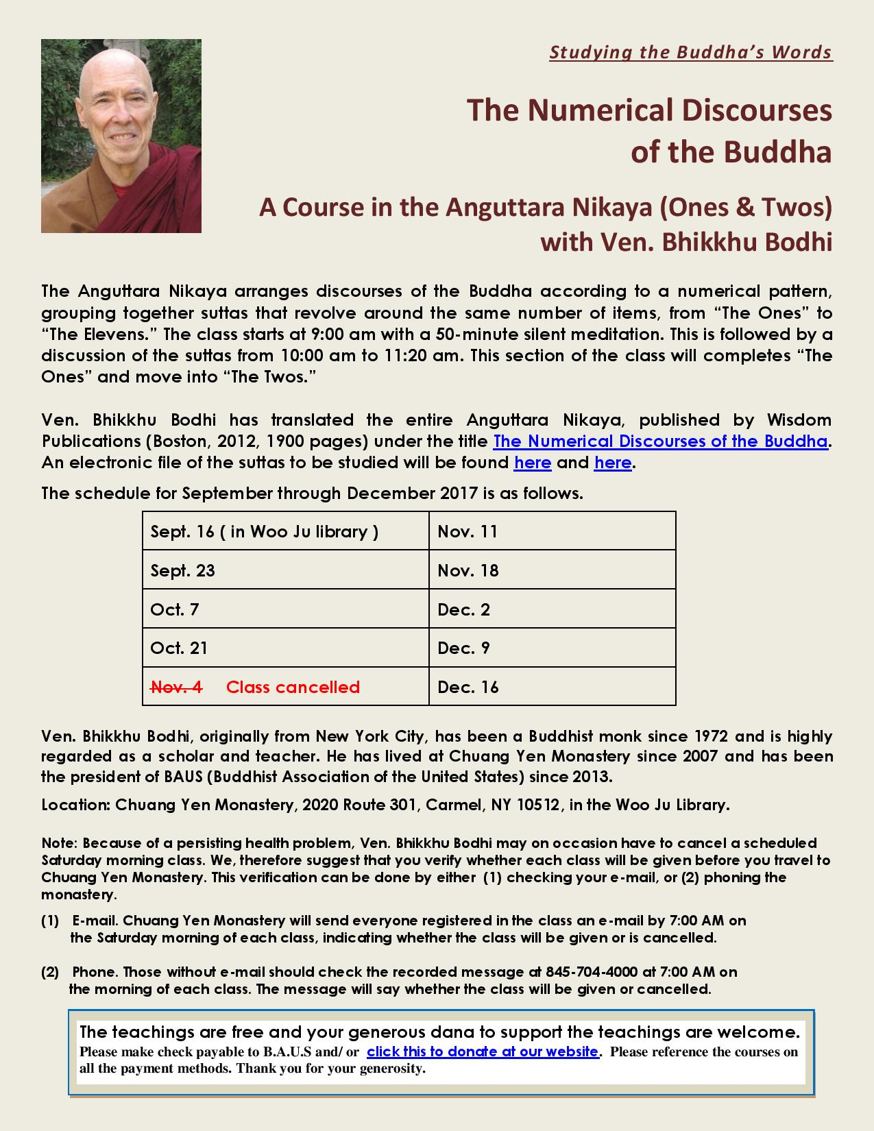 A Course in the Anguttara Nikaya (Ones & Twos) with Ven. Bhikkhu Bodhi at CYM