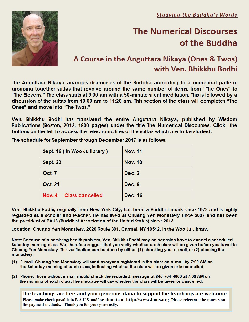 A Course in the Anguttara Nikaya (Ones & Twos) with Ven. Bikkhu Bodhi (CYM)