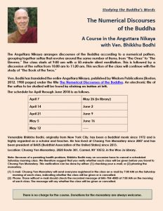 A Course in the Anguttara Nikaya (Ones & Twos) with Ven. Bhikkhu Bodhi (CYM)